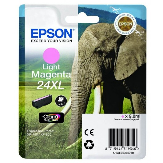 "T2436 Cartouche jet d'encre Light Magenta "" Elephant"" Claria Photo HD N°24XL"