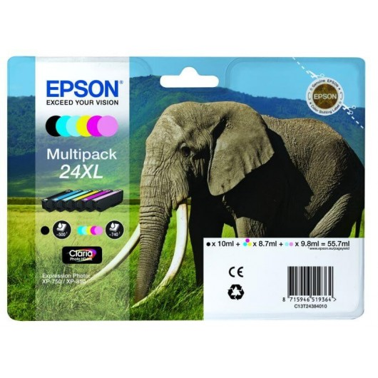 "T2438 Multipack 6 Cartouches "" Elephant"" Claria Photo HD N°24XL"