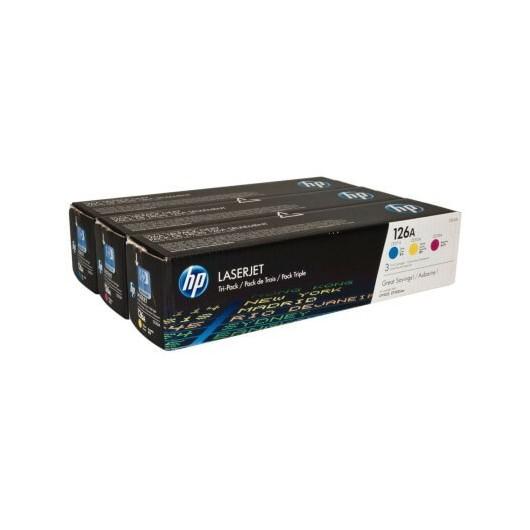HP 126A - HP CF341A - Couleurs - Pack de 3 Toners HP