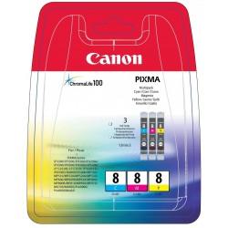 Canon CLI-8 - 0621B029 - Cyan, Magenta, Jaune - Pack de 3 Cartouches Canon