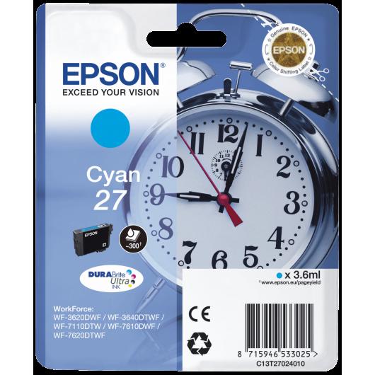 Epson T2702 - Epson 27 -Epson  Reveil - Cyan - Cartouche Epson