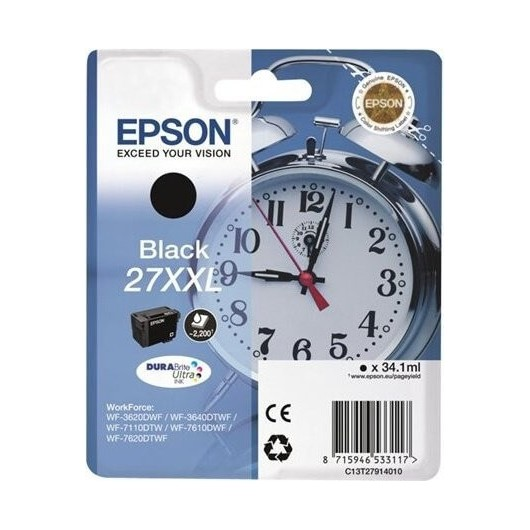 Epson T2791 - Epson 27XXL -Epson  Reveil - Noir - Cartouche Epson