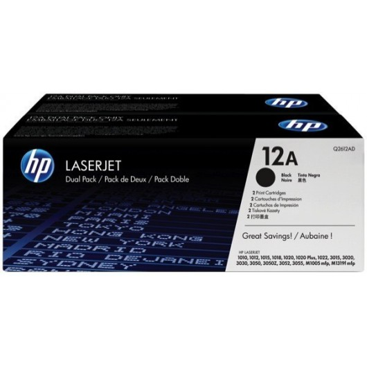 HP 12A - HP Q2612AD - Noir - Pack de 2 Toners  HP