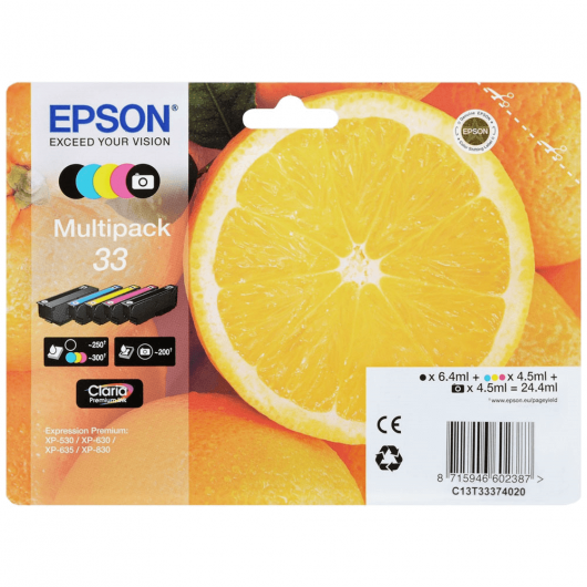 "T3337 - 33 - MultiPack de 5 cartouches Epson ""Orange"""