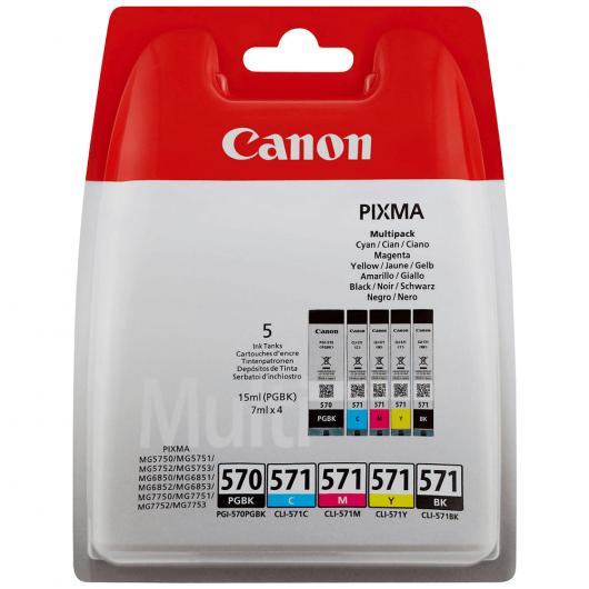 PGI-570 / CLI-571 - Noirs / Couleurs - Pack 5 Cartouches Canon