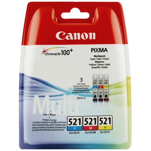 CLI-521 - Cyan, Magenta, Jaune -  Pack de 3 cartouches couleurs Canon