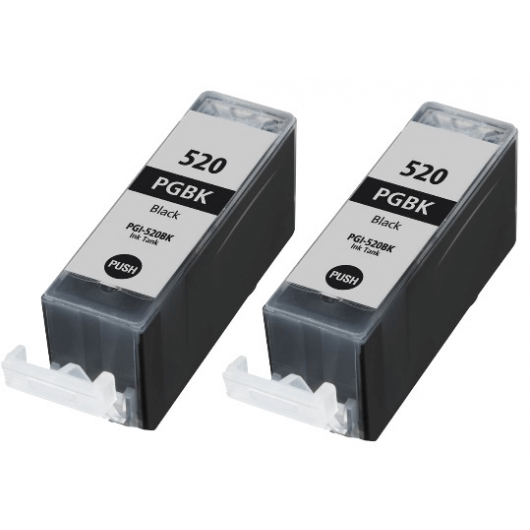 PGI-520 - Noir - Twin Pack de Cartouches Compatibles Canon (Lot de 2)