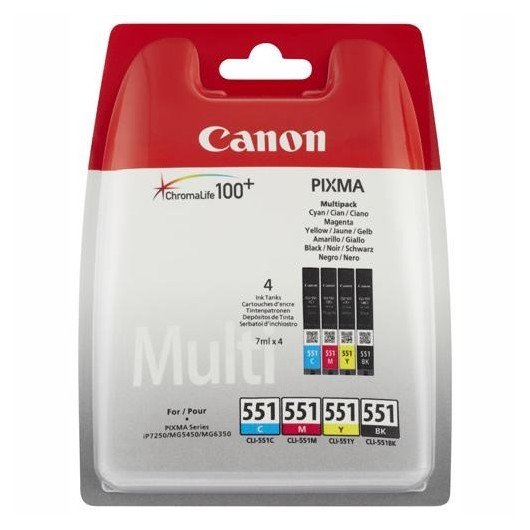Canon CLI-551 - 6509B008 - C/M/Y/BK - Multipack 4 Cartouches Canon